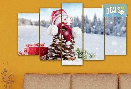 Коледна картина! 1 или 2 картини от по 5 части с коледни мотиви и богат избор на дизайни от каталога на Stardeko! - Снимка 6
