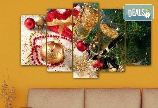 Коледна картина! 1 или 2 картини от по 5 части с коледни мотиви и богат избор на дизайни от каталога на Stardeko! - Снимка 8