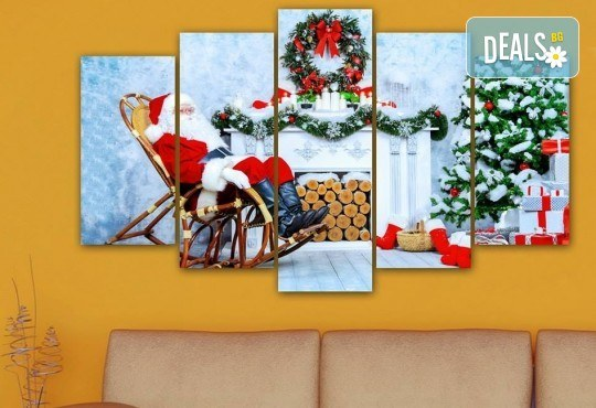 Коледна картина! 1 или 2 картини от по 5 части с коледни мотиви и богат избор на дизайни от каталога на Stardeko! - Снимка 3