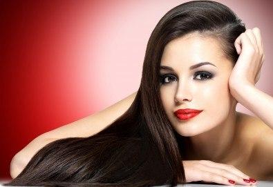 Полиране на коса - премахване на цъфтежите, без отнемане на дължината, интензивна хидратираща терапия и прав сешоар във фризьорски салон Даяна! - Снимка