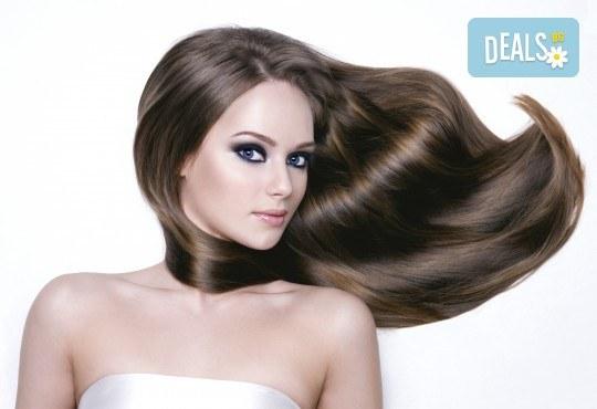 Полиране на коса с полировчик, арганова терапия, подстригване и оформяне със сешоар в студио за красота Secret Vision - Снимка 1