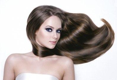 Полиране на коса с полировчик, арганова терапия, подстригване и оформяне със сешоар в студио за красота Secret Vision