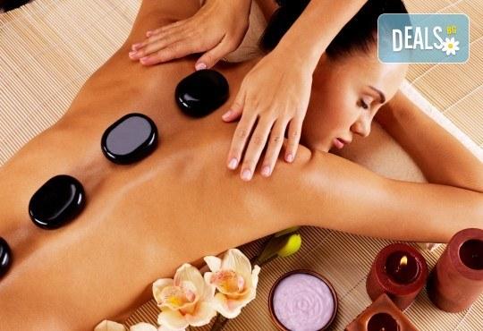 120-минутен Spa Mix Изток-Запад! Релаксиращ масаж на тяло с какаово масло и пилинг с кафе, Hot Stone терапия, китайски масаж на лице, шия деколте в център GreenHealth - Снимка 1