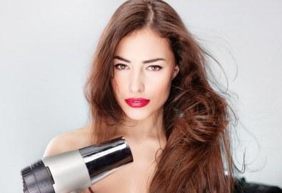 Дамско подстригване, масажно измиване, маска според нуждите на косата, термо спрей, оформяне на прическа със сешоар и стилизиране от студио Шедьовър - Снимка