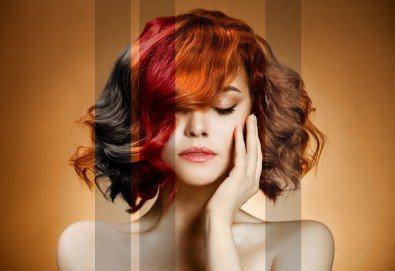 Боядисване с боя на клиента, масажно измиване, маска според нуждите на косата, термо спрей и оформяне на прическа със сешоар от студио за красота Шедьовър! - Снимка
