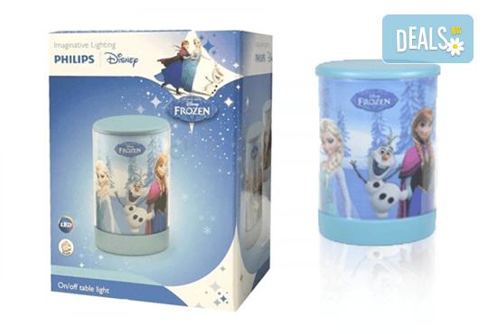 За сладки сънища! Малка преносима LED лампа за деца на Philips с героите от Frozen! - Снимка 1