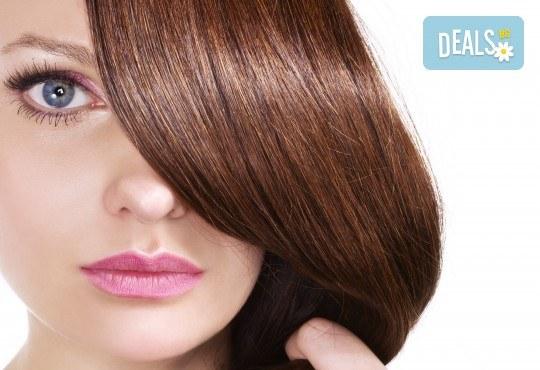 Арганова или кератинова терапия за коса, полиране и оформяне на прическа със сешоар в студио за красота Jessica - Снимка 1