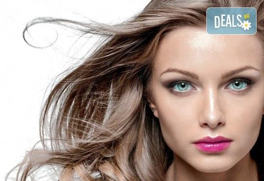 Боядисване на корени, терапия за запазване на цвета с продукти Milk Shake, подстригване и прическа със сешоар в козметично студио Beauty! - Снимка 2