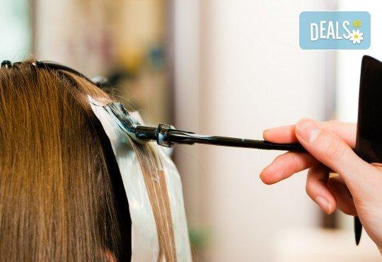 Боядисване на корени, терапия за запазване на цвета с продукти Milk Shake, подстригване и прическа със сешоар в козметично студио Beauty! - Снимка 3