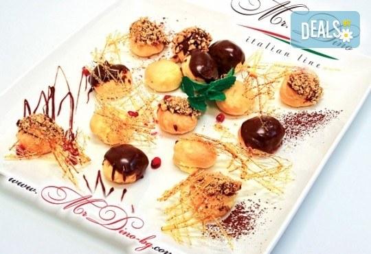 35 профитероли с маскарпоне и 49 белгийски шоколадови трюфела, Mr. Dino Italian Line
