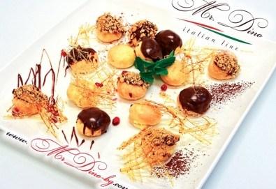 Сладко изкушение! Кутия с 35 профитероли с маскарпоне с вкус ванилия и 49 белгийски шоколадови трюфела от Mr. Dino Italian Line - Снимка