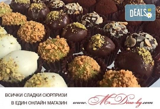 Сладко изкушение! Кутия с 35 профитероли с маскарпоне с вкус ванилия и 49 белгийски шоколадови трюфела от Mr. Dino Italian Line - Снимка 5