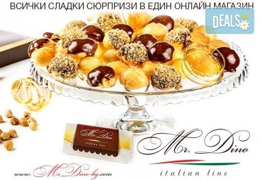 Сладко изкушение! Кутия с 35 профитероли с маскарпоне с вкус ванилия и 49 белгийски шоколадови трюфела от Mr. Dino Italian Line - Снимка 6