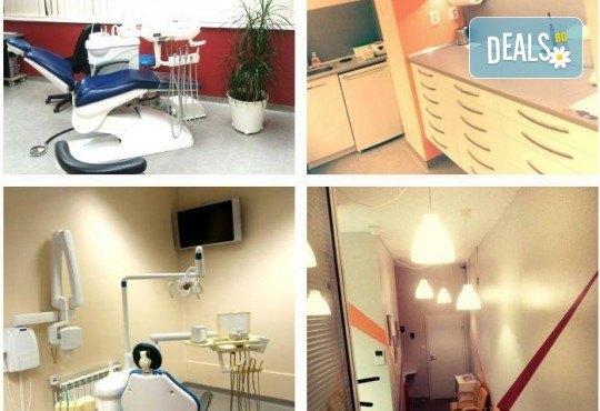 Поставяне на фотополимерна пломба или почистване на зъбен камък с ултразвук, полиране и обстоен преглед в дентална клиника Персенк - Снимка 3