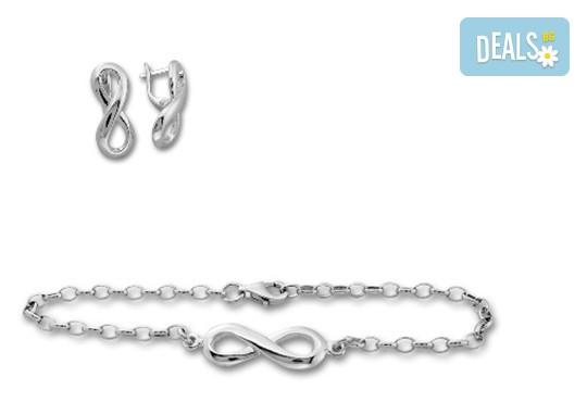 """Подарък за любимата! Комплект сребърна гривна и обеци """"Безкрайност"""" от фирма Molvani! - Снимка 1"""