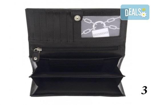 Дамско портмоне от естествена кожа с RFID защита за безконтактни кредитни карти на Friedrich - Снимка 8