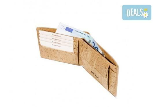 Луксозен мъжки RFID портфейл от естествен корк на CorkOr, Португалия, ръчна изработка! - Снимка 4