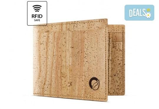 Луксозен мъжки RFID портфейл от естествен корк на CorkOr, Португалия, ръчна изработка! - Снимка 1