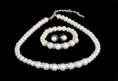 Изненадайте любимата с луксозен комплект обеци, гривна и колие с перли и висококачествен цирконий от Present For You! - Снимка