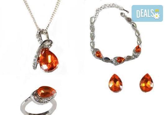 Лукс и стил! Комплект колие, гривна, пръстен и обеци с австрийски кристали от Present For You! - Снимка 1