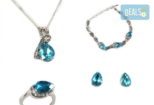 Лукс и стил! Комплект колие, гривна, пръстен и обеци с австрийски кристали от Present For You! - Снимка 2