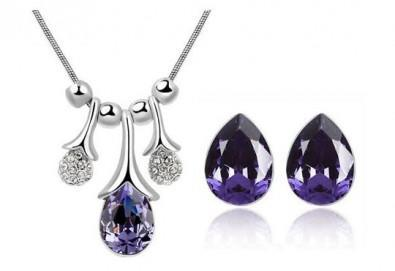 Идеалният подарък! Колие и обеци ''Морска лагуна'' с австрийски кристали от Present For You! - Снимка