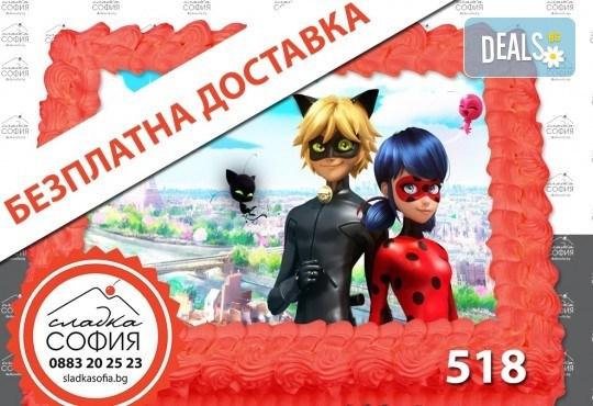 Детска торта с картинка на любим герой и безплатна доставка от Сладка София