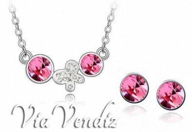 Стилен комплект Елегантни пеперуди с колие и обици с австрийски кристали в лилаво или розово от Via Vendiz! - Снимка