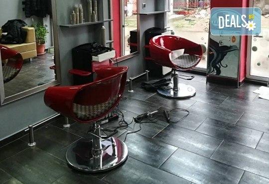 Подстригване и боядисване с боя на клиента, масажно измиване, маска според според нуждите на косата и оформяне със сешоар в салон за красота Cuatro! - Снимка 6