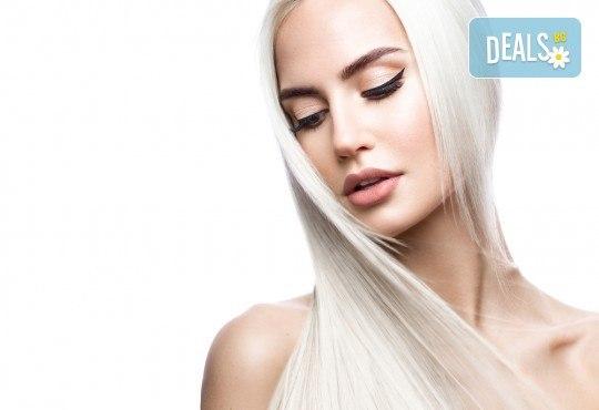 Подстригване и боядисване с боя на клиента, масажно измиване, маска според според нуждите на косата и оформяне със сешоар в салон за красота Cuatro! - Снимка 1