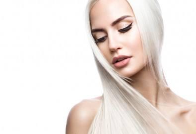 Подстригване и боядисване с боя на клиента, масажно измиване, маска според според нуждите на косата и оформяне със сешоар в салон за красота Cuatro! - Снимка