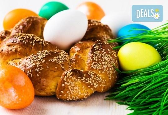 Козунак за Великден в 7 пакета със стафиди, локум, плодове, шоколад, декорация и мармалад от Работилница за кусотии Рави! - Снимка 1