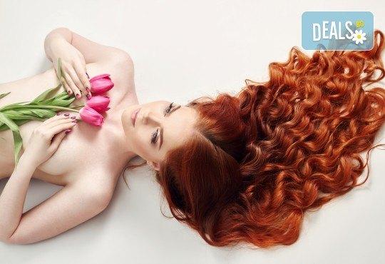 Боядисване с Ваша боя, подстригване, масажно измиване с продукти на Christian of Roma, дълбоко възстановяваща терапия за увредена и третирана коса със серум и оформяне в козметично студио Beauty! - Снимка 1
