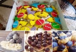 Празничен сет Великденско парти! 80 великденски курабии - пиленца, зайчета, моркови, пеперуди и др., бели топки с кокос, мъфини с шоколад и портокал, еклери с крем от Muffin House! - Снимка