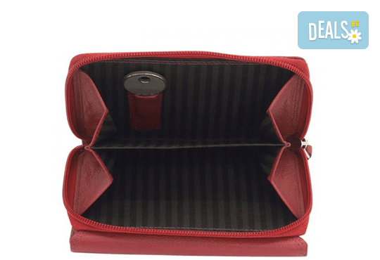 Дамско портмоне на Friedrich от естествена кожа в червен цвят и RFID защита за безконтактни кредитни карти! - Снимка 2