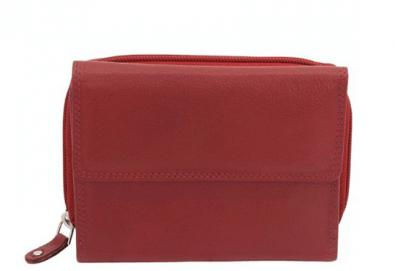 Дамско портмоне на Friedrich от естествена кожа в червен цвят и RFID защита за безконтактни кредитни карти! - Снимка