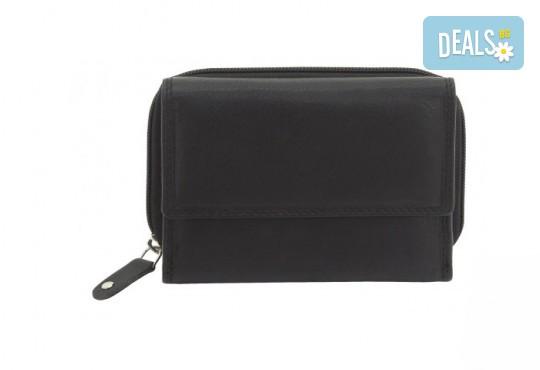 Дамско портмоне на марката Friedrich от естествена кожа в черен цвят и RFID защита за безконтактни кредитни карти! - Снимка 1