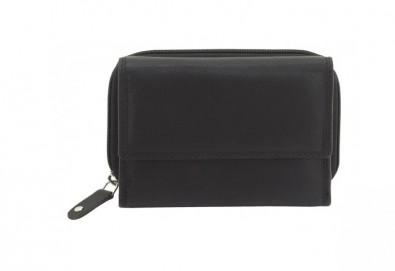Дамско портмоне на марката Friedrich от естествена кожа в черен цвят и RFID защита за безконтактни кредитни карти! - Снимка