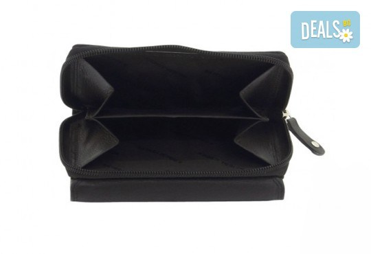 Дамско портмоне на марката Friedrich от естествена кожа в черен цвят и RFID защита за безконтактни кредитни карти! - Снимка 3