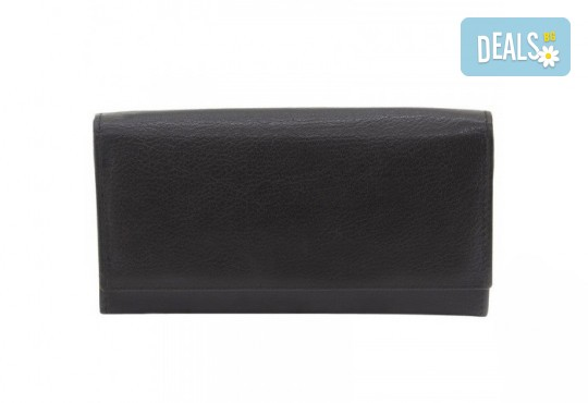 Вземете дамско портмоне в черен цвят от естествена кожа и RFID защита за безконтактни кредитни карти на марката Friedrich! - Снимка 1