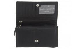 Красив и стилен подарък! Дамско портмоне в черен цвят от естествена кожа и RFID защита за безконтактни кредитни карти! - Снимка