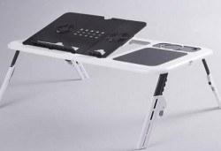 За Вашето удобство! Преносима и сгъваема маса E-table за лаптоп с 2 броя вградени вентилатори от Магнифико! - Снимка