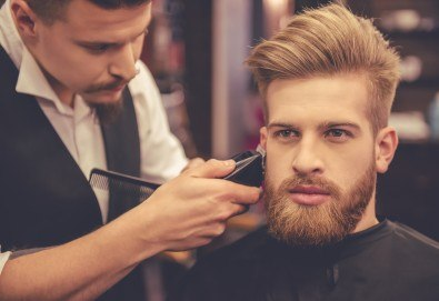 Мъжко подстригване, измиване, нанасяне на маска, подсушаване и стилизиране + оформяне на брада във Фризьорски салон Никол! - Снимка