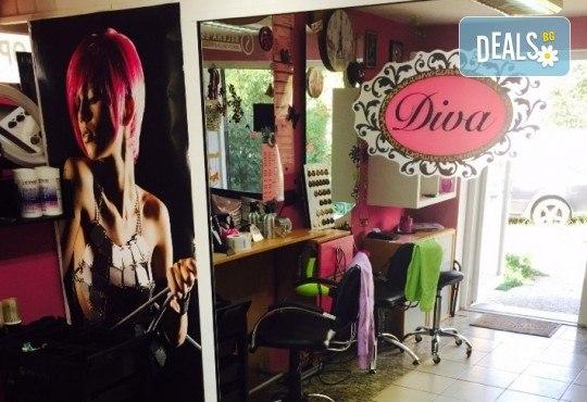 Кичури в стил балеaж, изсветляване със супра, кератинова терапия с масажно измиване и оформяне със сешоар в салон за красота Diva! - Снимка 4
