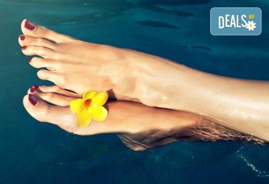Класически педикюр с лакове SNB или гел лакове Kiara Sky в цвят по избор, Бонус: две красиви декорации, сваляне на стар гел лак и масаж на ходилата от Nail Salon Desire! - Снимка 1