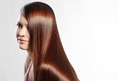 Възстановяваща кератинова терапия за коса с инфраред преса, масажно измиване и прав сешоар в салон Diva!