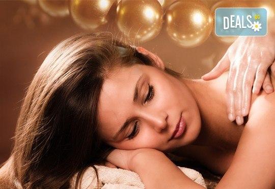 Кралски масаж на цяло тяло и глава, пилинг с перли и мускус и подмладяваща SPA терапия LUX с хайвер и колаген в Wellness Center Ganesha! - Снимка 1