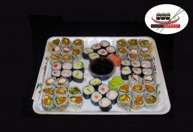 Вкусно и здравословно! Вземете 56 суши хапки с филаделфия, пушена сьомга и херинга или скариди от Sushi Market! - Снимка