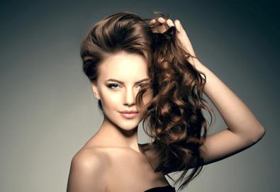 Терапия против косопад с инфраред преса и ампула, подстригване и прическа със сешоар в козметично студио Beauty! - Снимка