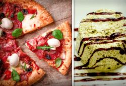 Меню за ДВАМА в Златна круша! ДВЕ пици по избор - големи или малки + ДВА домашни сладоледени десерта със сладко и крокан - Снимка